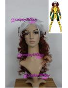 X-men Rogue cosplay wig 17inch curly wig mixed color